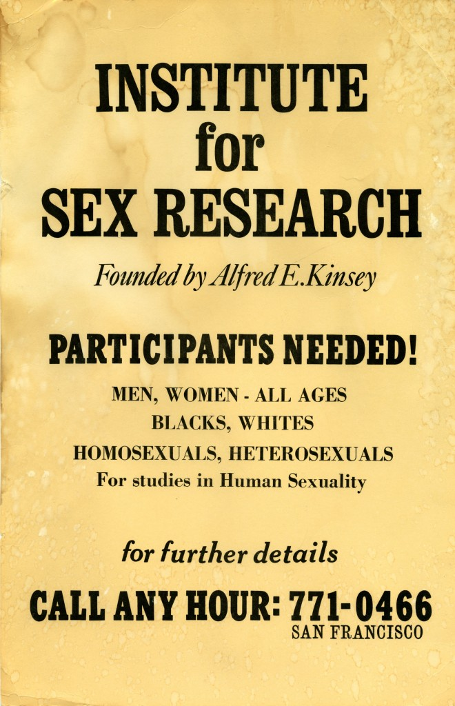 Advertisement for the Institute of Sex Research (c) The Kinsey Institute