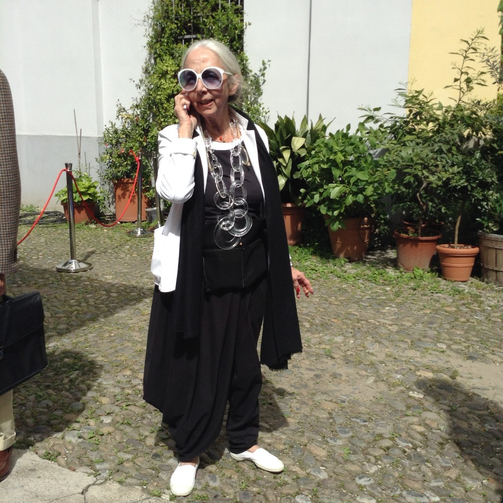 Rossana Orlandi in the courtyard of her store