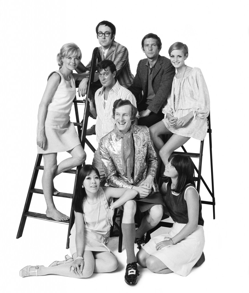 In Group commissioned by Jocelyn Stevens on 18th July 1967. Back row (left to right) Susannah York, Peter S Cook, Tom Courtenay, Twiggy, centre row (left to right) Joe Orton, Michael Fish, front row (left to right) Miranda Chiu, Lucy Fleming. (Photo by Lichfield/Getty Images).