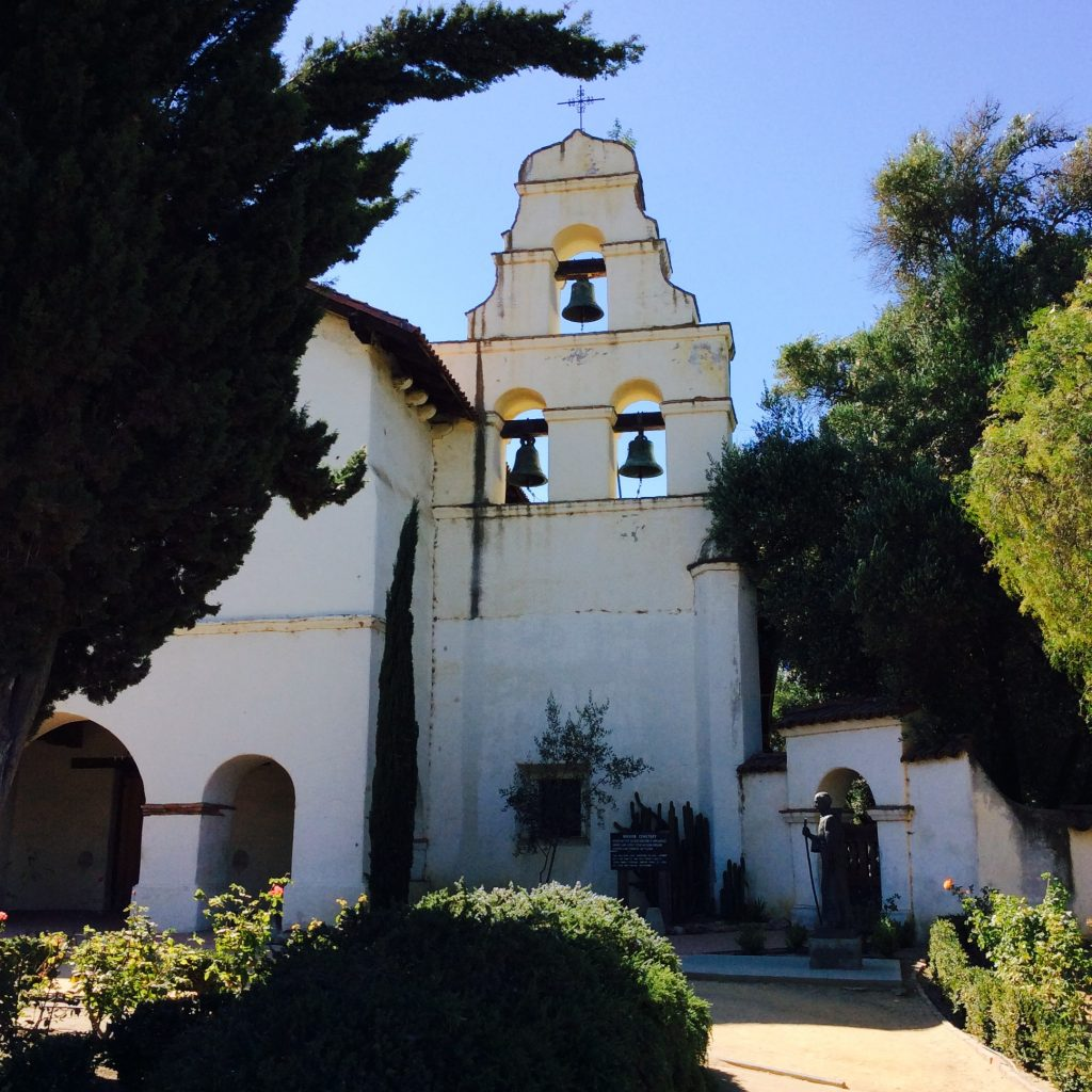 The famous bell tower of the historic Mission San Bautista where James Stewart came to a sticky end.