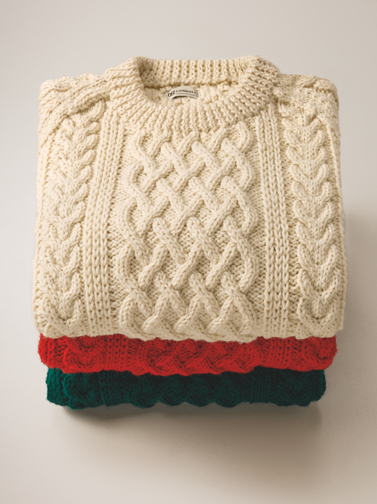 Just looking at these double-knit cashmere jumpers makes you feel warm and cosy.
